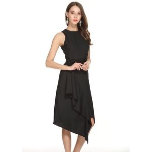 Dresses & Skirts - Asymmetrical Ruffle Detail Sleeveless Midi Dress